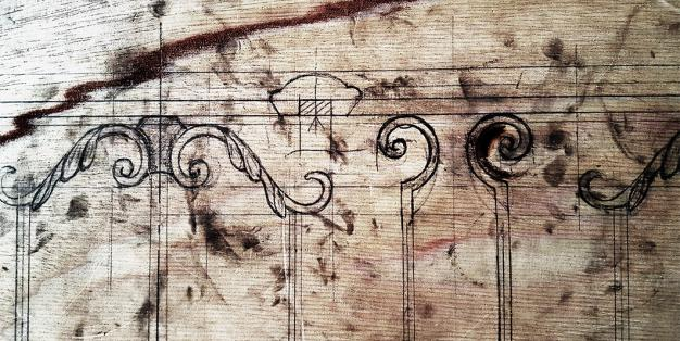 Schmiede Aachen - Brettaufriss einer Schmiedezeichnung für die Staatsoper unter den Linden © Michael Hammers