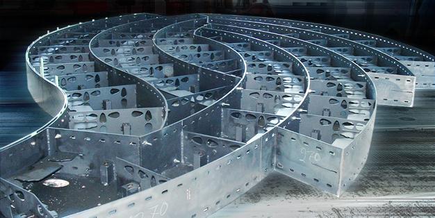 Northern Lights, Unterkonstruktion, Stahlleichtbau als Wabenkonstruktion. Sonderkonstruktionen aus Michael Hammers' Schmiede Aachen – erstklassige Werkstattplanung, perfekte Verarbeitung, reibungslose Montage. Foto: Michael Hammers Studios