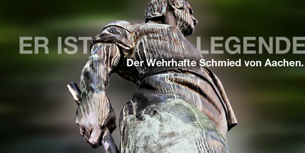 """Schmiede Aachen - Grafik mit Ausschnitt der Seitenanicht der Bronzeskulptur des Bildhauers Carl Burger von 1909 """"Wehrhafter Schmied von Aachen"""". Grafik: Michael Hammers"""