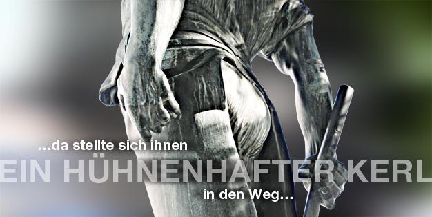 """Schmiede Aachen - Grafik mit einem Ausschnitt der Rückansicht der Bronzeskulptur des Bildhauers Carl Burger von 1909 """"Wehrhafter Schmied von Aachen"""". Foto: Michael Hammers"""
