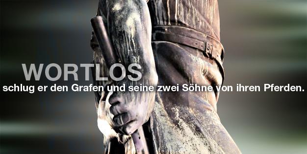 """Schmiede Aachen - Grafik mit einem Ausschnitt der Hand der Bronzeskulptur des Bildhauers Carl Burger von 1909 """"Wehrhafter Schmied von Aachen"""". Foto: Michael Hammers"""